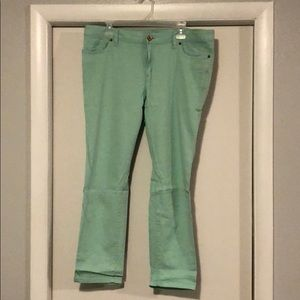 Land's End seafoam crop jeans